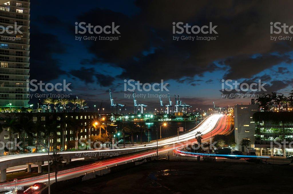 Romantic dusk in Miami stock photo
