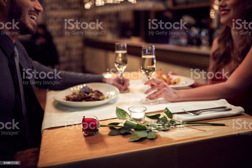 Romantic evening Couple have romantic evening in restaurant Adult Stock Photo