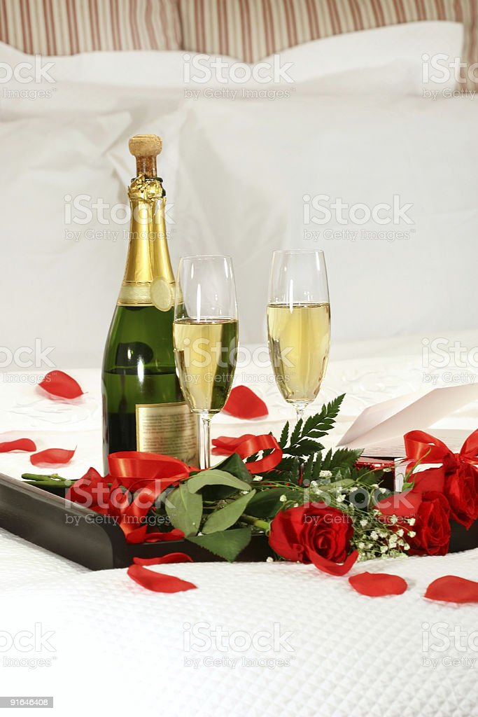Romantic evening with champagne stock photo