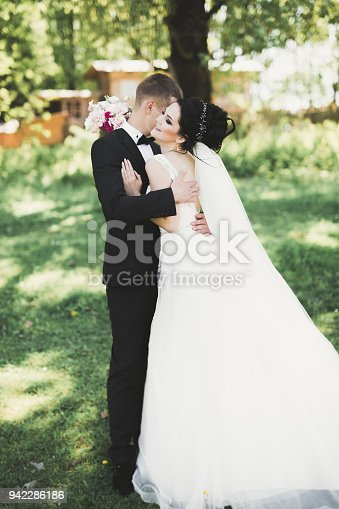 istock Romantic, fairytale, happy newlywed couple hugging and kissing in a park, trees in background 942286186
