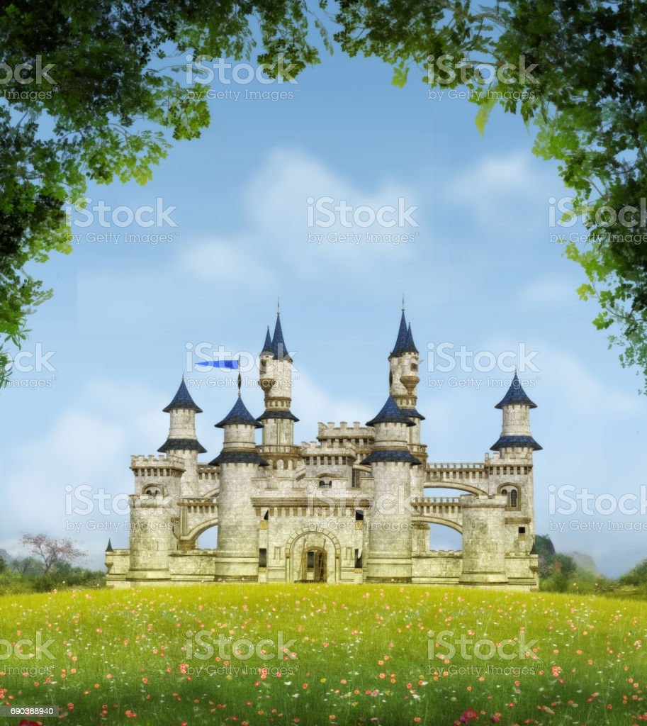 Romantic Fantasy Castle stock photo