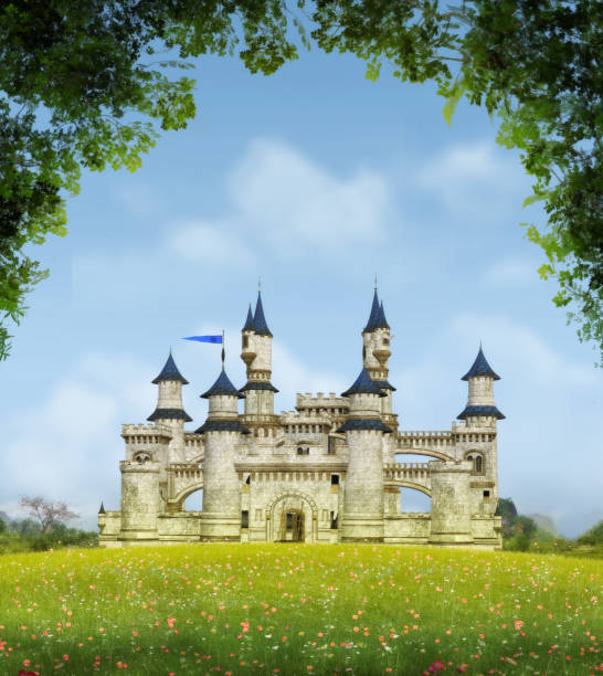 romantic fantasy castle - castle stock photos and pictures