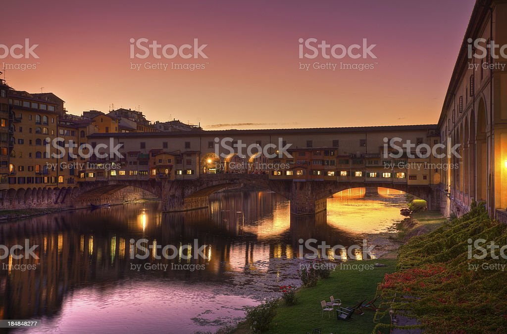 Romantic Florence at Dusk, Ponte Vecchio and Arno River stock photo