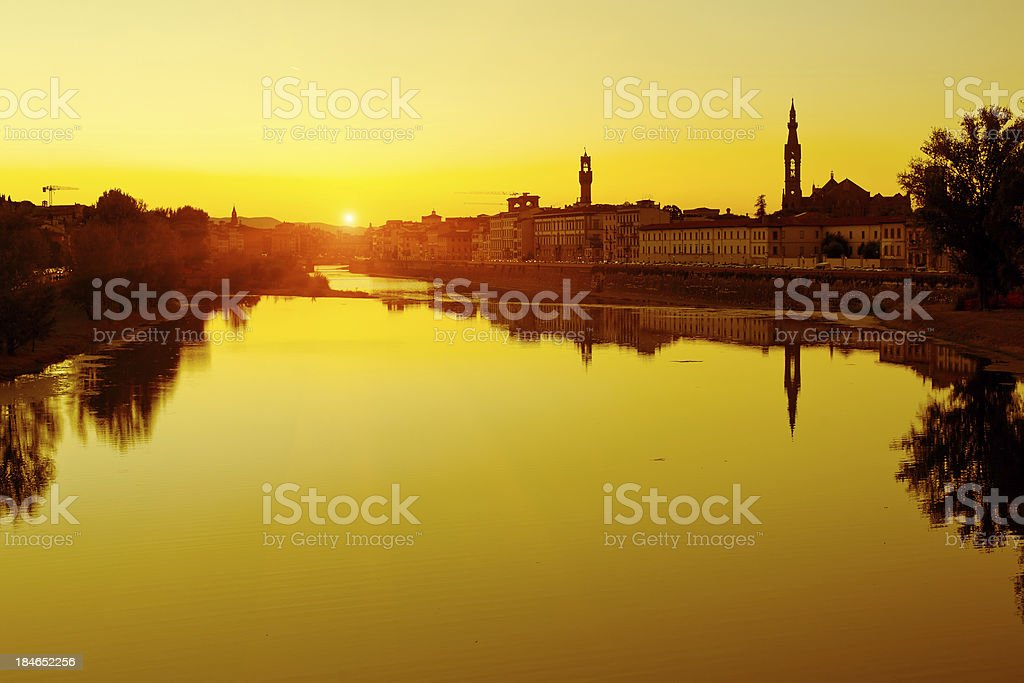 Romantic Florence at Sunset, Italy royalty-free stock photo