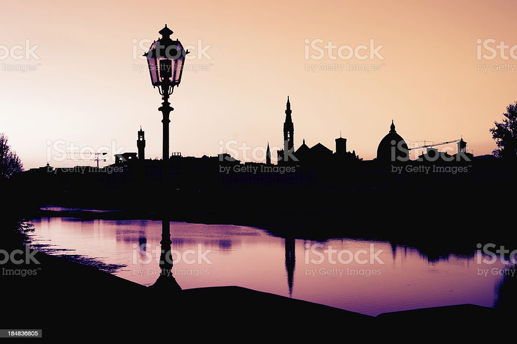 Romantic Florence Skyline at Sunset, Italy stock photo