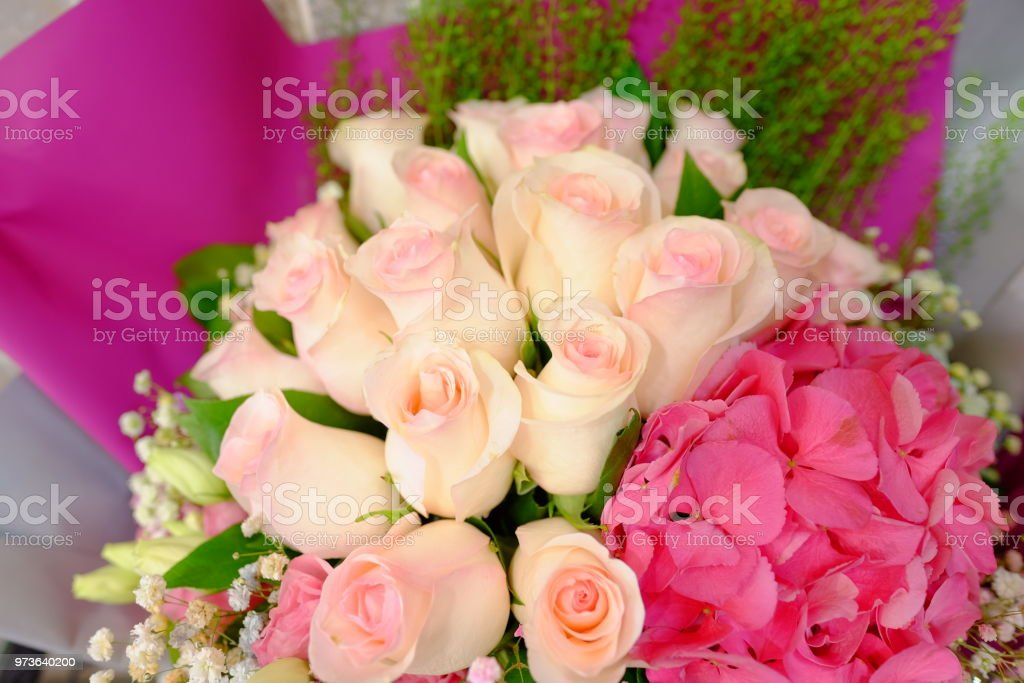Romantic Flower Bouquet Arrangement With Special Light Pink Rose Stock Photo Download Image Now Istock