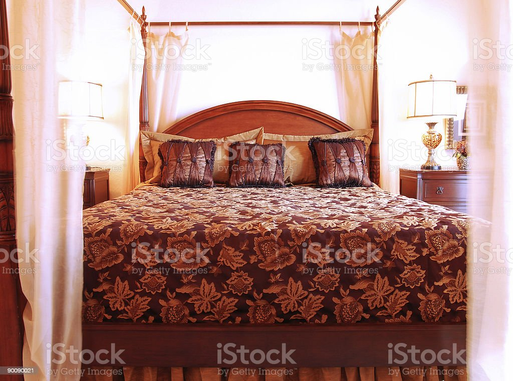 Romantic Four Poster Bed royalty-free stock photo