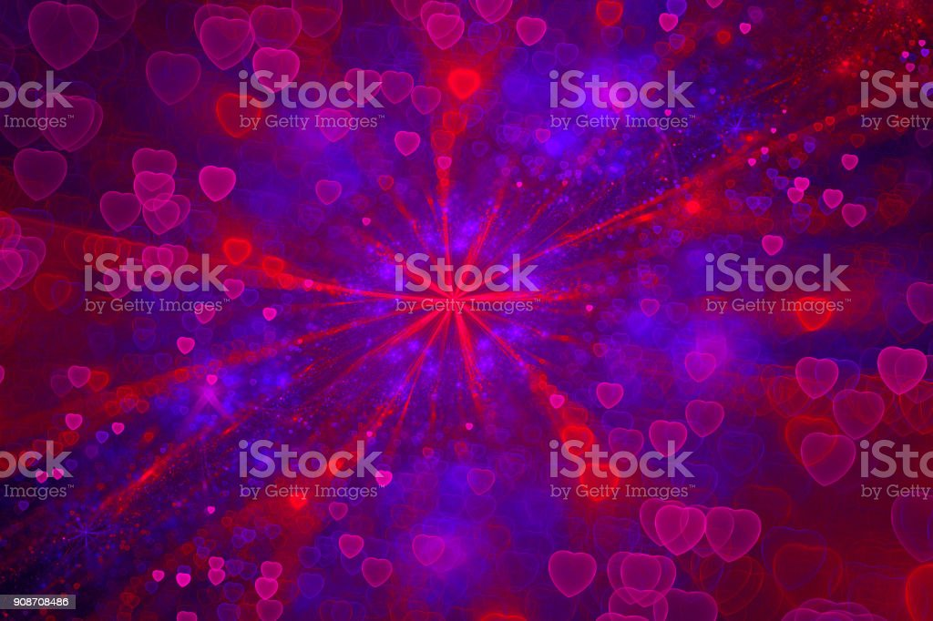 Romantic Galaxy, Colorful Glittering Hearts, Amour, Backgrounds stock photo