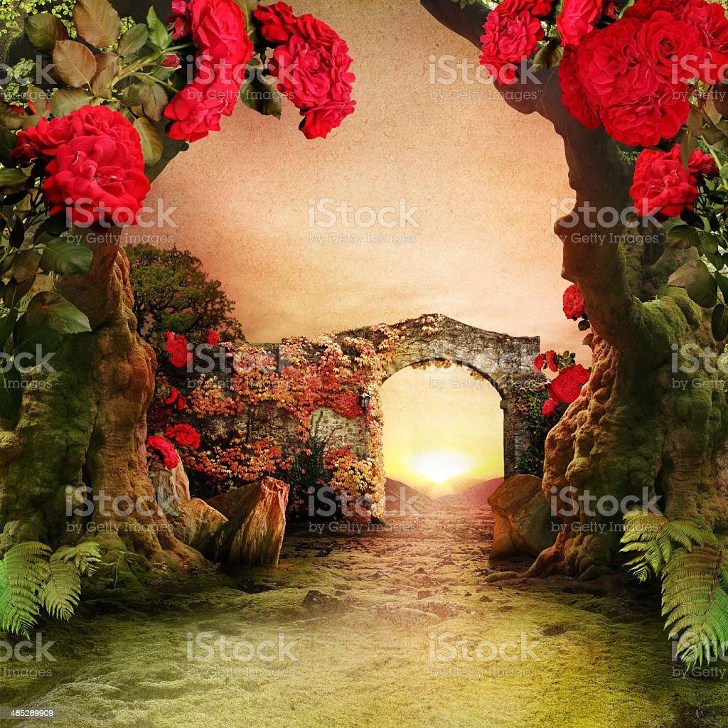 Romantic Garden Landscape stock photo