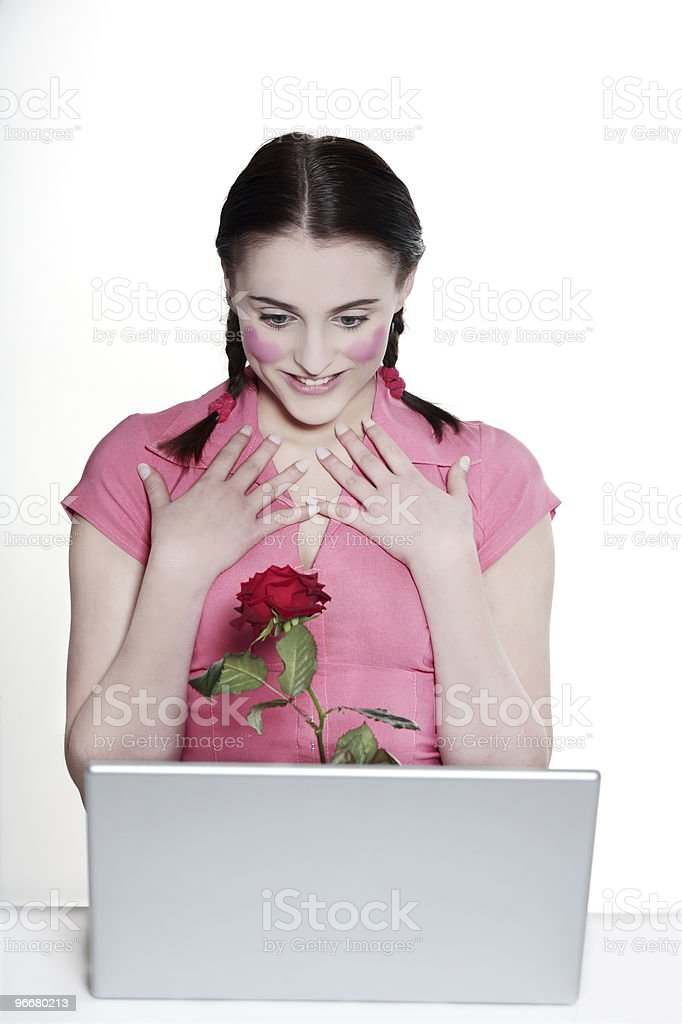 romantic girl young woman surfing for love royalty-free stock photo