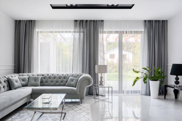 Romantic gray living room stock photo
