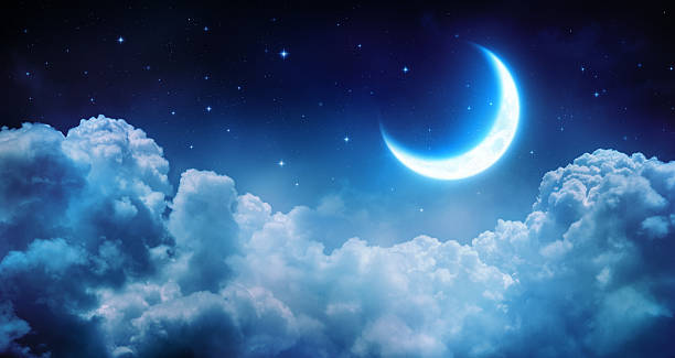 romantic half moon on the clouds - dreamlike stock photos and pictures