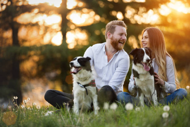 Romantic happy couple in love enjoying their time with pets stock photo
