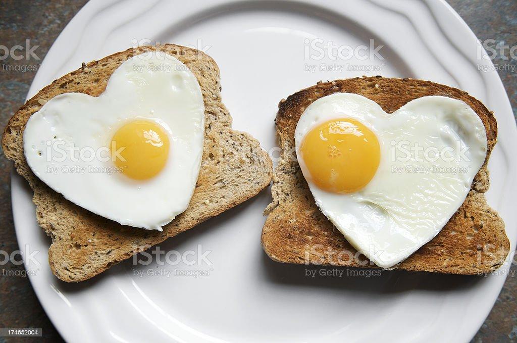 Romantic Healthy Breakfast Two Hearts on Toast stock photo