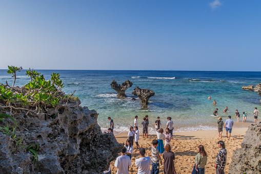 Romantic Heart Rock Of Kouri Island Okinawa Stock Photo - Download Image Now