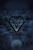 Multiple exposure image of romantic heart shaped tree with courting bald eagles.