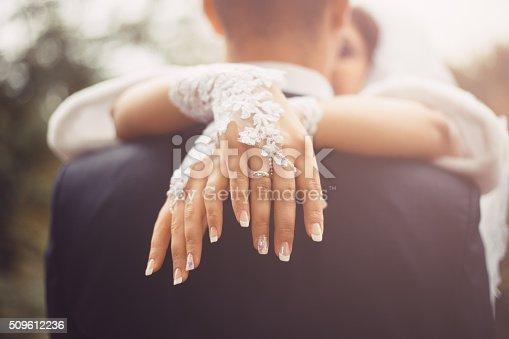 istock Romantic hugs of newlyweds 509612236