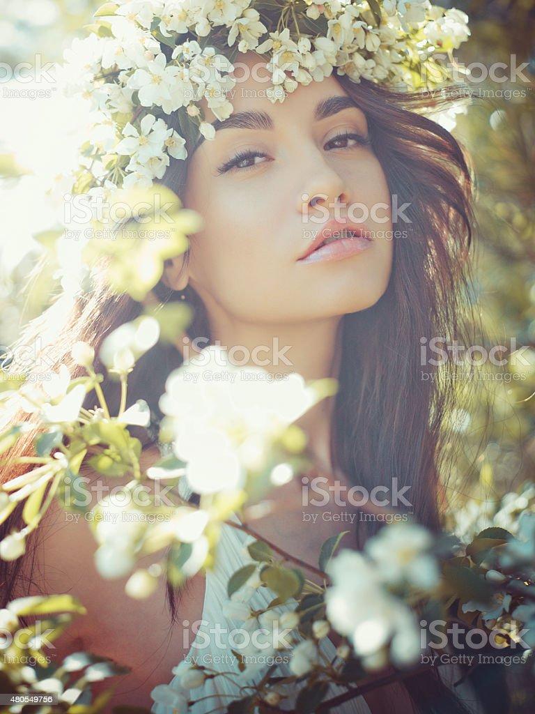 Romantique Dame dans une couronne de fleurs de pomme arbres - Photo