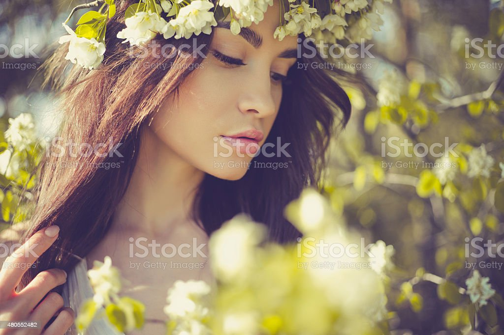 Romantic lady in a wreath of apple trees stock photo
