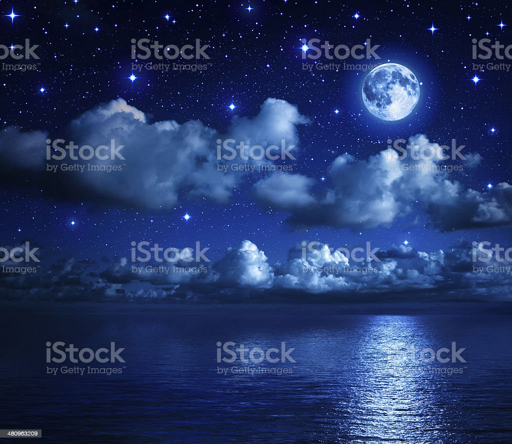 romantic landscape in the starry night stock photo