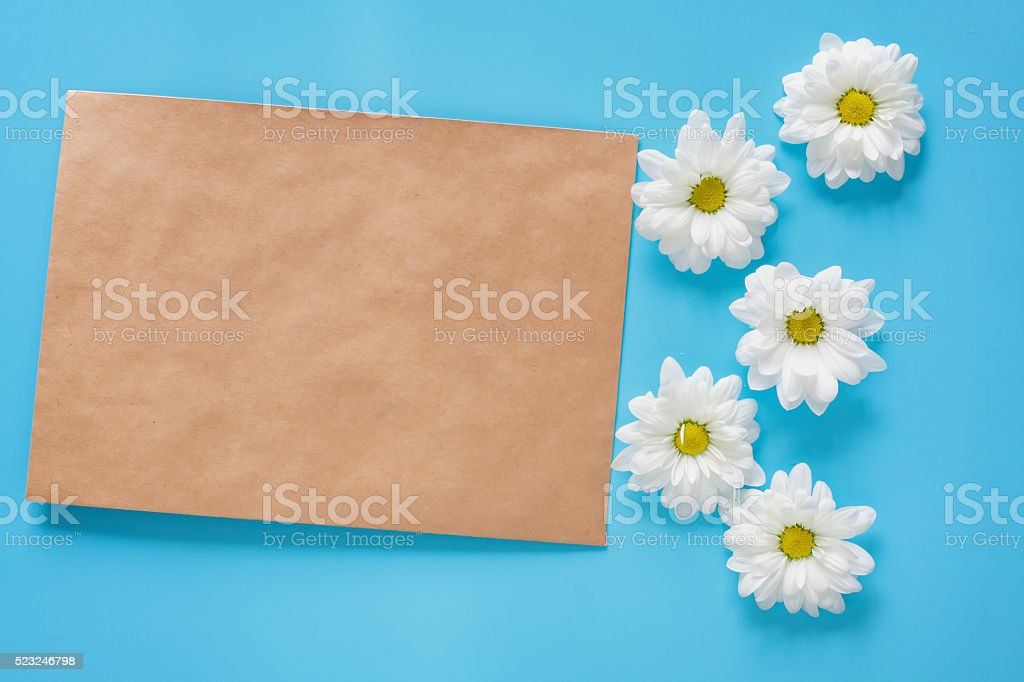 Kraft envelope and white chrysanthemums on a blue background. Copy...