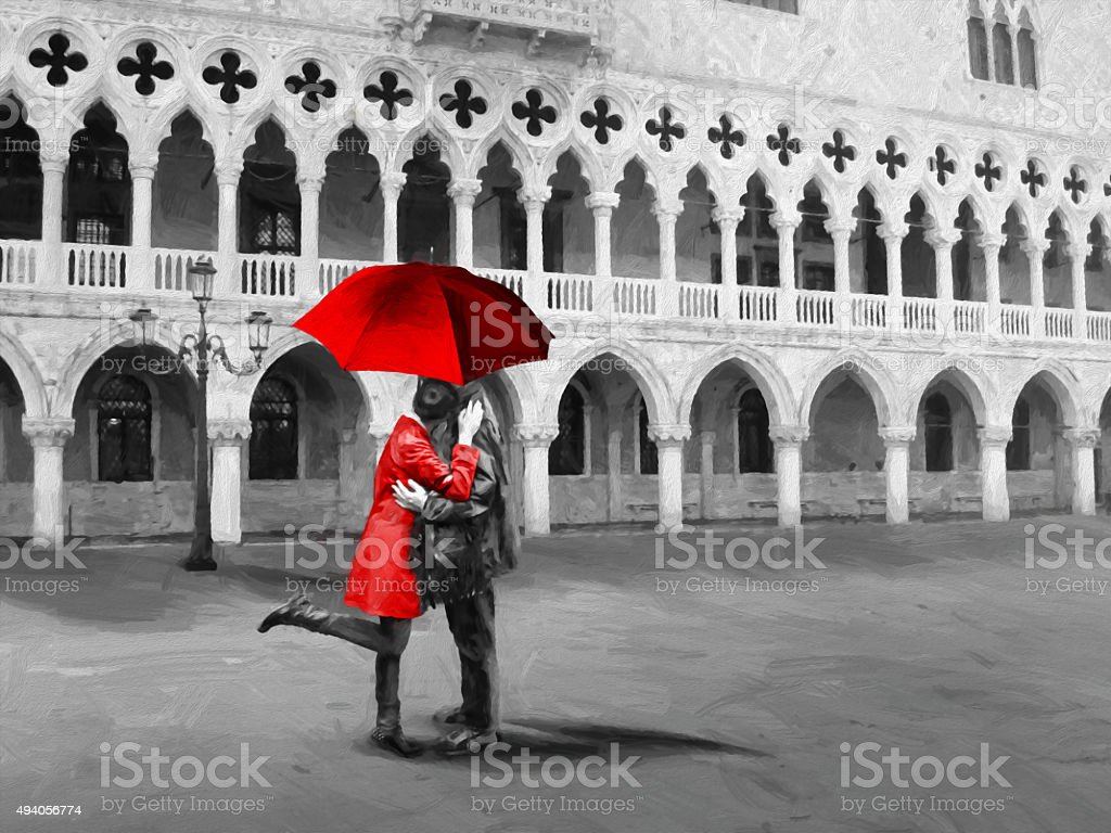 Romantic lovers  in Venice. Palazzo Ducale, Piazza San Marco. stock photo