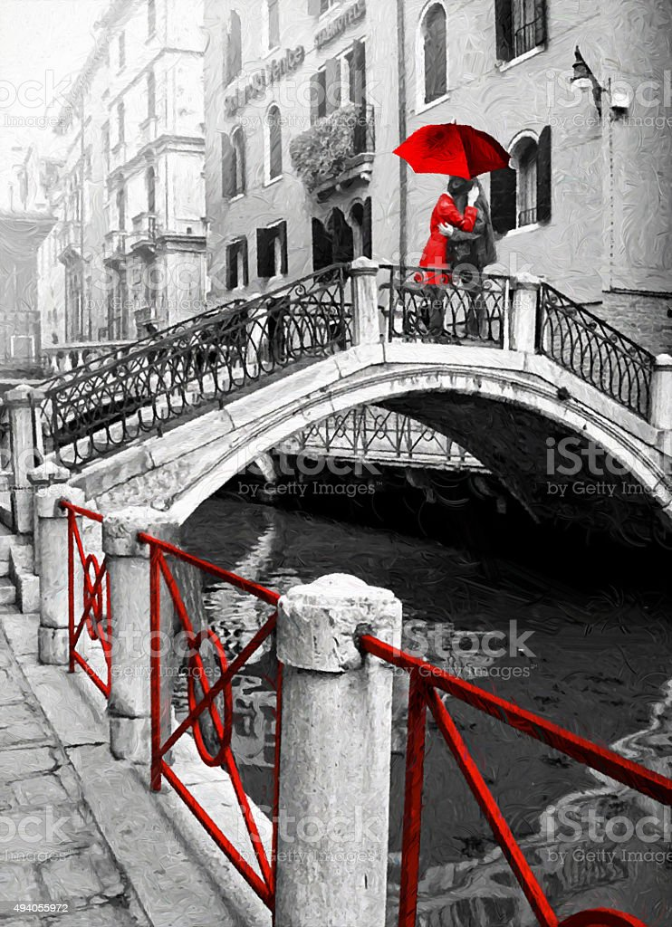 Romantic lovers on the Bridge in Venice. stock photo