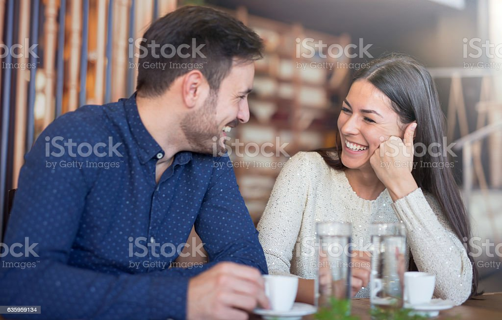 Romantic loving couple having a date in cafe – Foto