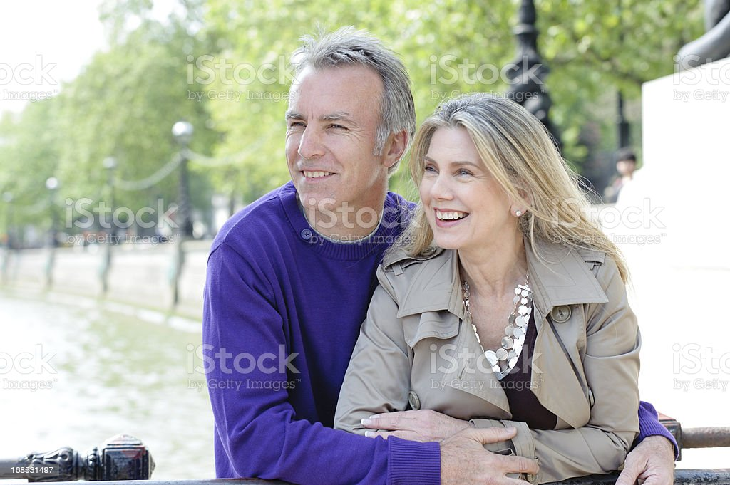 Romantic Mature Couple by River Thames royalty-free stock photo