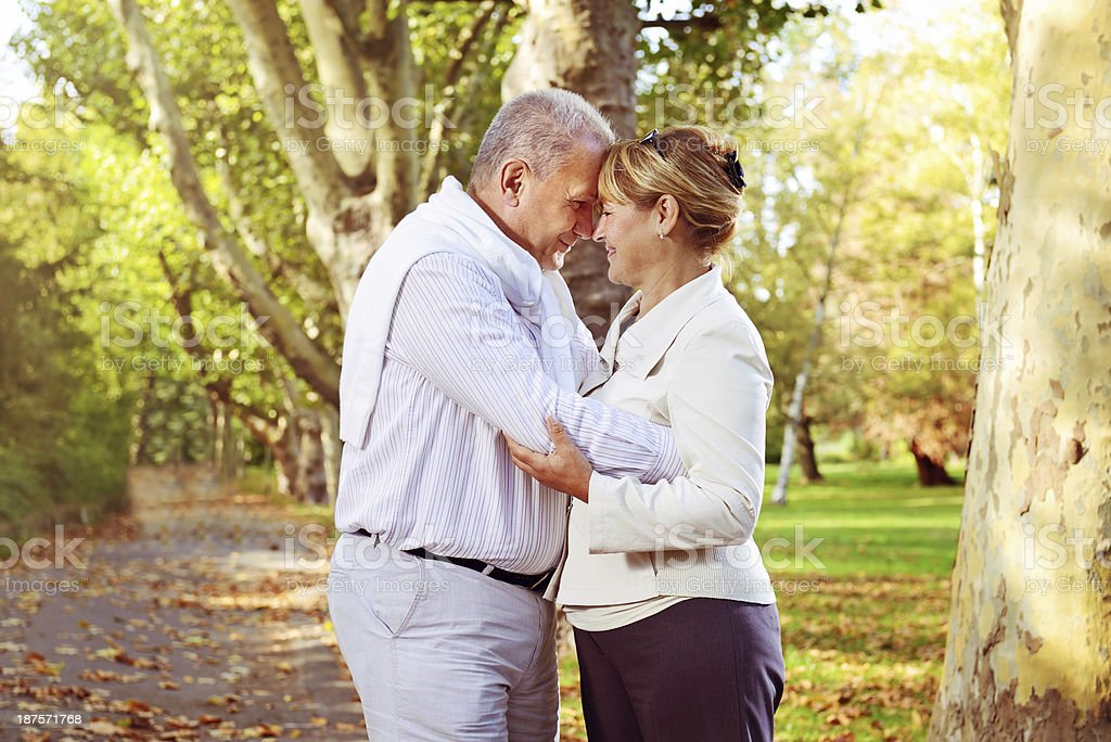 Romantic mature couple outdoors royalty-free stock photo