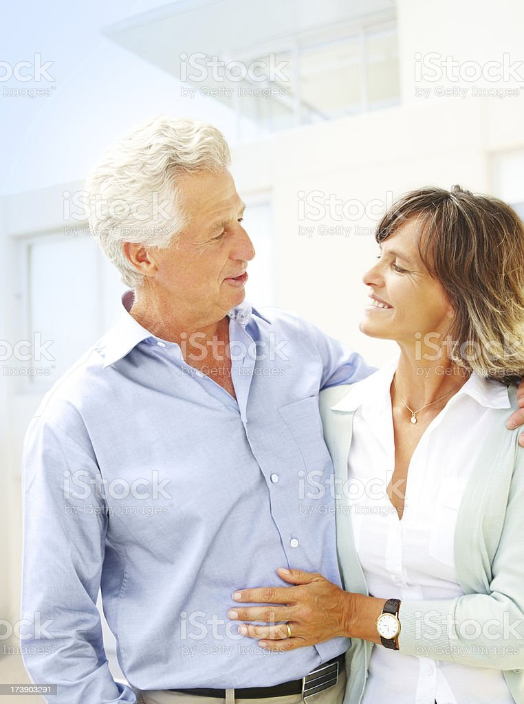 Romantic mature couple Smiling royalty-free stock photo