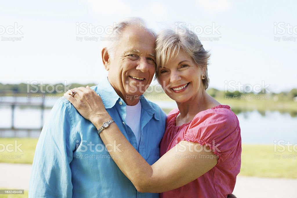Romantic, mature couple standing together royalty-free stock photo