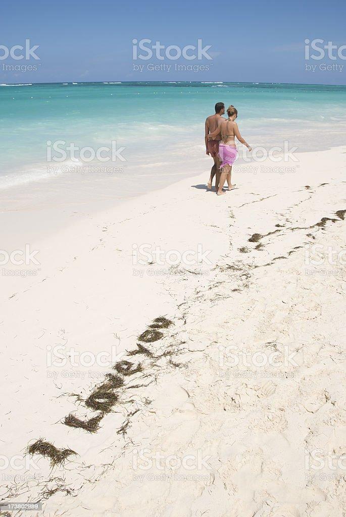 Romantic Message Tropical Beach royalty-free stock photo