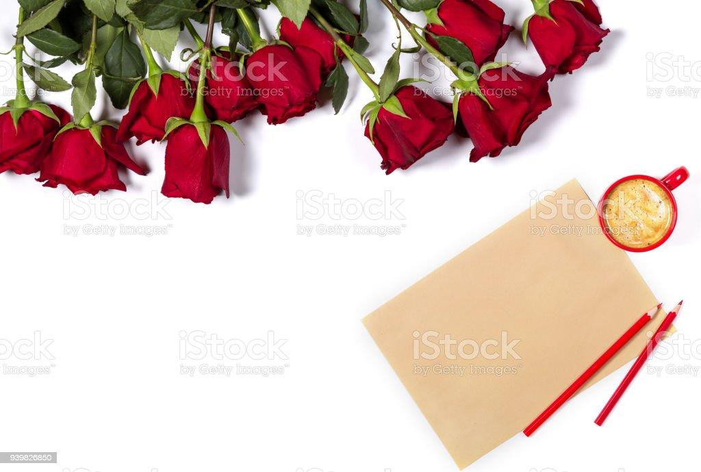 hermoso manojo de grandes rosas rojas hoja de papel lpices - Fotos De Rosas Rojas Grandes