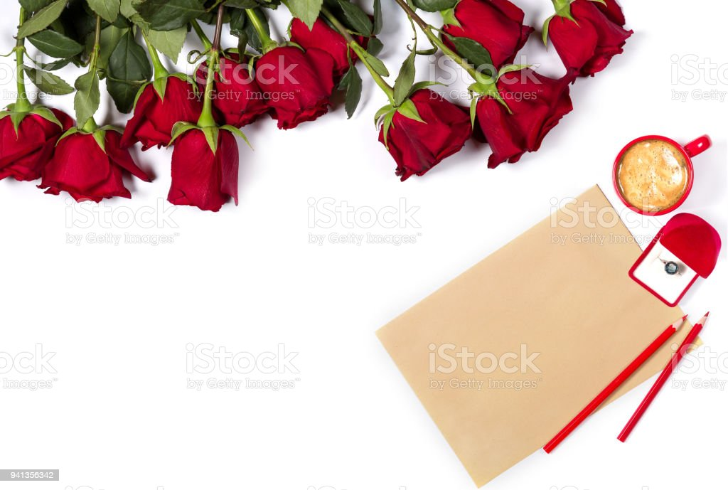 Romantic Mockup Beautiful Bunch Of Large Red Roses Sheet Of Craft