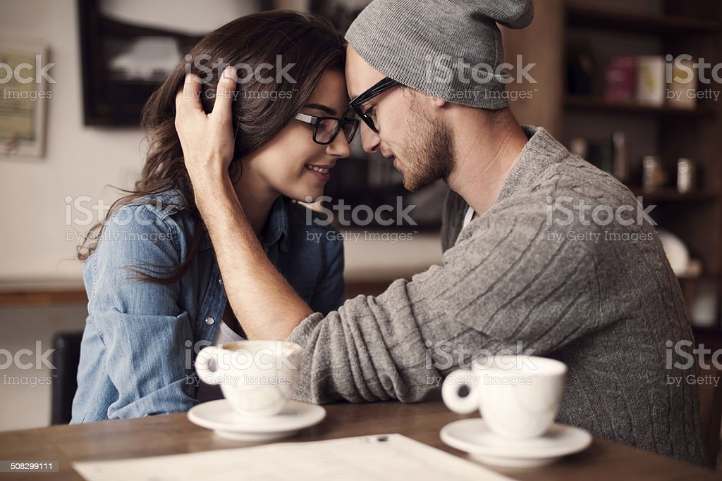 Romantic moments for young couple stock photo