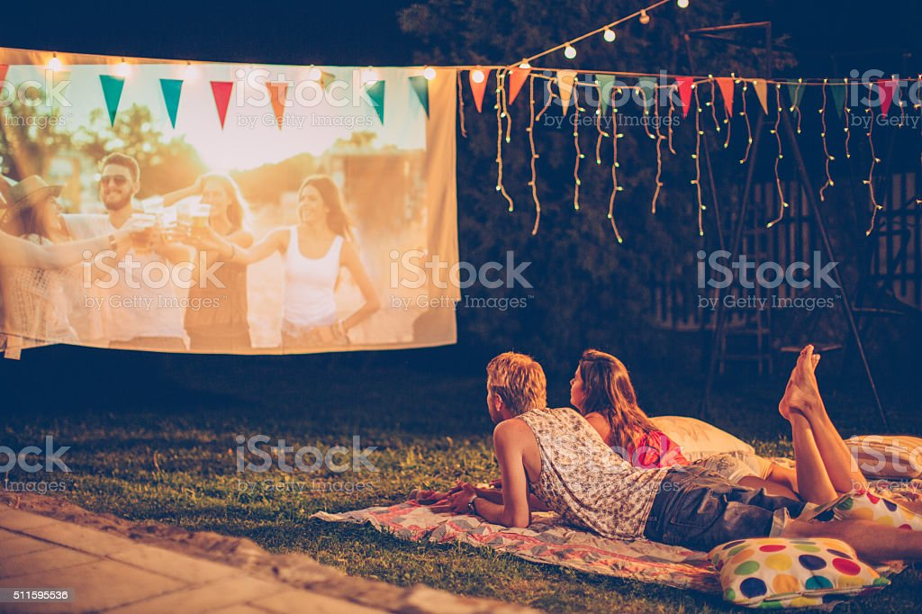 Romantic movie night stock photo