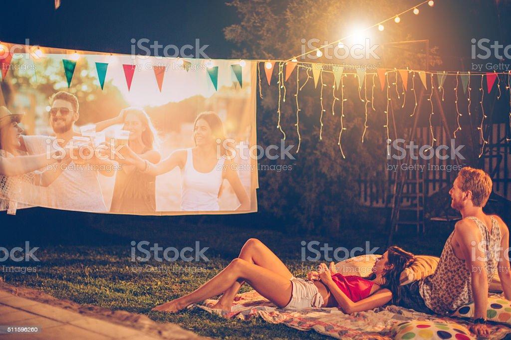 Romantic movie night stock photo