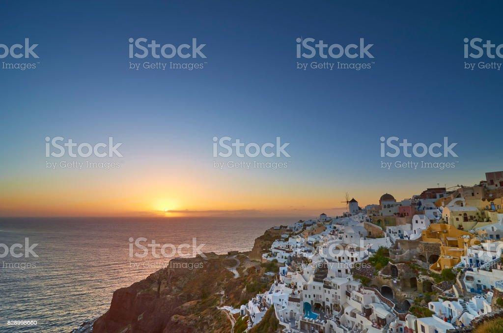 Romantic Oia Sunset stock photo