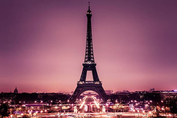 romantic paris with tour eiffel - eiffel tower stock photos and pictures