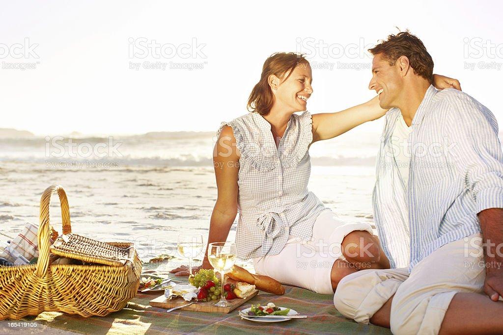 Romantic picnic at sunset royalty-free stock photo