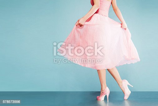 istock Romantic pink dress with shoes.vintage style. 578573556
