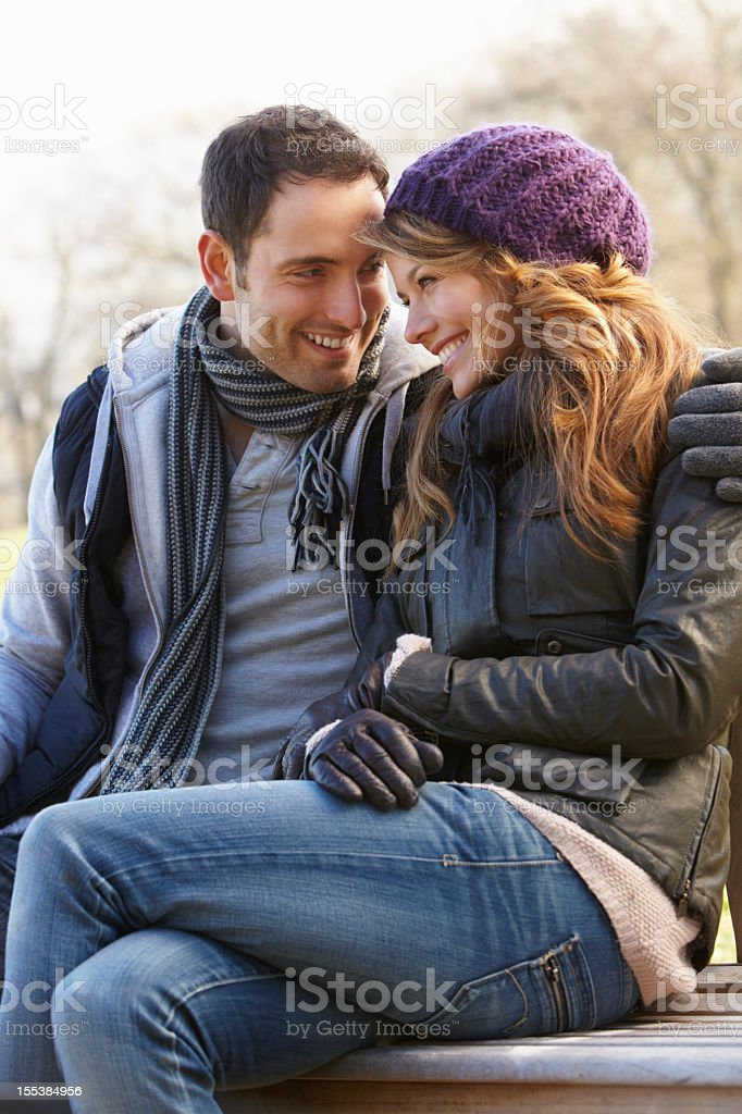 Romantic portrait couple outdoors in winter royalty-free stock photo