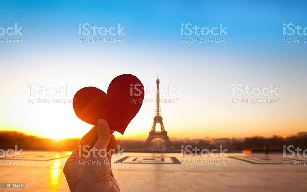 romantic postcard from France stock photo