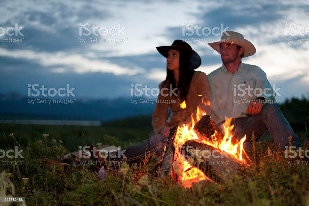 Romantic ranch campfire stock photo