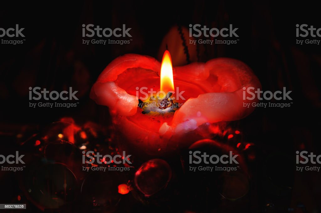 Romantic red candle stock photo