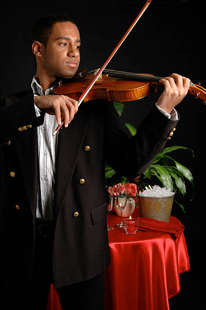 Romantic Restaurant A violinist playing in a romantic French restaurant serenading stock pictures, royalty-free photos & images