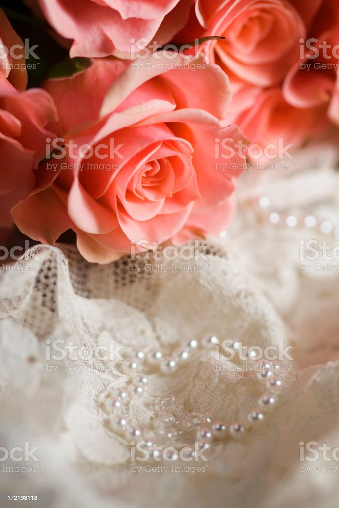 Romantic Roses and Antique Lace stock photo