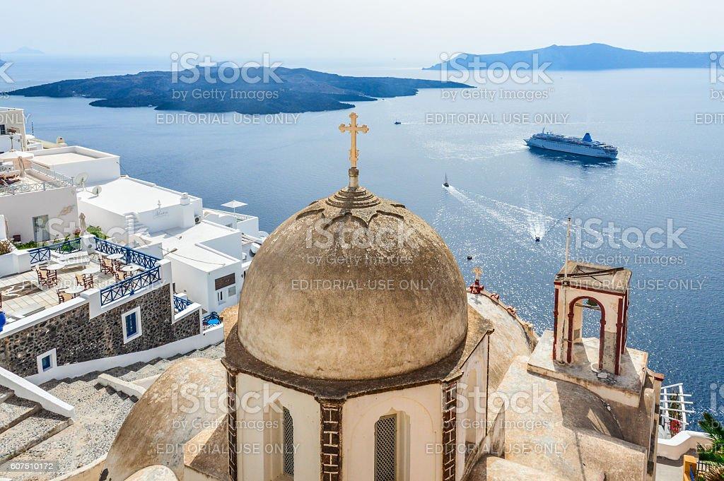 Romantic Santorini island with traditional Greek whitewashed architecture stock photo