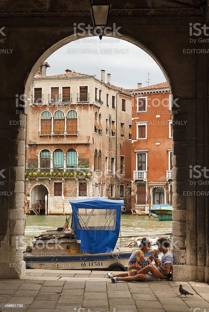 romantic scene in venice royalty-free stock photo